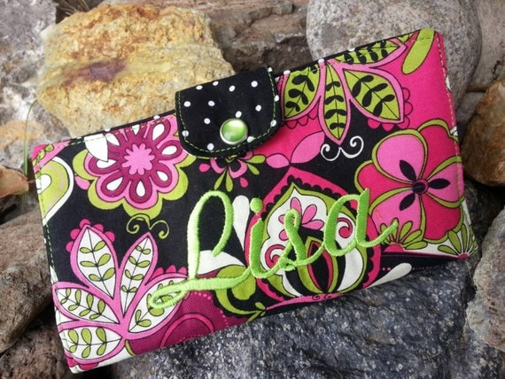 Personalized Floral Checkbook Cover, Pink & Black Personalized Wallet