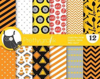 Construction digital paper, commercial use, scrapbook papers, background chevron, stripes - PS734
