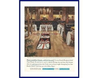 KENTILE FLOORS 1962 Vintage Extra Large Color Print Ad - Western Steak House With Totem Pole Design Insert in Vinyl Tile