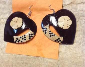 Large Polynesian Style Coconut Shells Earrings.. Perfect For A Gift!!
