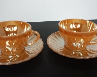 Fire King Peach Luster Swirl Cups and Saucers - 2 Sets