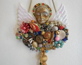 Altered Art, Costume Jewelry Art, Encrusted Jewelry, Jewelry Collage, Rainbow Wall Decor, Gay Rainbow Art, Guardian Angel, Gay Rainbow
