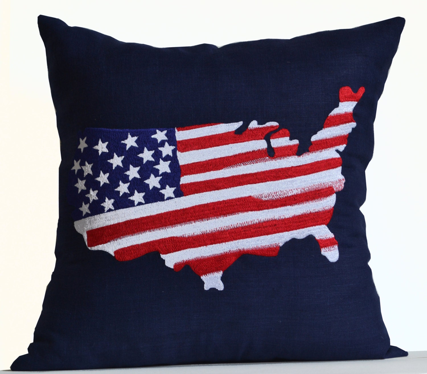 US Map Decorative Throw Pillow Cover Navy Blue Linen Cushion