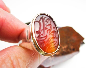 Large Antique Carnelian Engraved Seal, Signet Ring 18K & Sterling, Custom Set by Tampico SF.