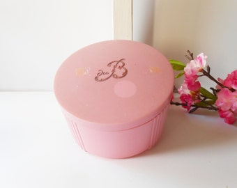 Powder Jar, Vintage Powder Dish Pink, DuBarry Powder, Pink Jar, Vintage Pink Dish, Vanity Accessory,  Boudoir, Glamorous Accessory, 1950's