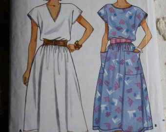 Butterick 3743 pattern for 80s v neck day dress size L-XL