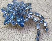 SEVEN Treasury Lists....Vintage.SHERMAN  Brooch...Blue SWAROVSKI Crystals...Blue Flower  Brooch.....Sherman Flower Brooch