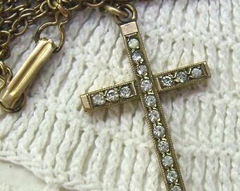 Sale...Vintage Rhinestone Cross ...Gold Filled...Rope Border...Vintage Chain....Rhinestone Cross Jewelry