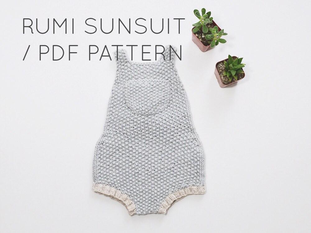 Knitting Pattern For Toddler Overalls : Rumi Sunsuit PDF Download// Baby Romper Onesie Knitting