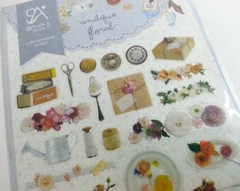 Antique Floral Sticker   - 1 Sheet