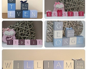 Personalised Wooden Blocks- nursery blocks - christening gift - new baby - wooden blocks