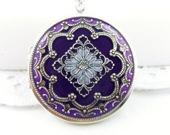 Violet/Purple Filigree Locket, Vintage Locket,Filigree Diamond Locket, Photo Locket, Valentine Gift For Her,  Wedding Locket Picture Locket