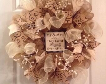 Wedding wreath/ Mr. & Mrs. Wreath/ bridal wreath/ happily ever after wreath