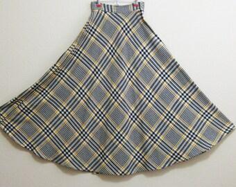 1960s Yellow Plaid Maxi Skirt Full Fall Colors Small Medium