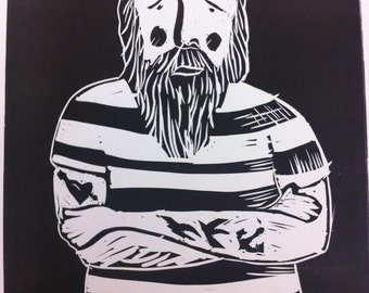 Limited Edition original Lino Cut 'The Fisherman' black and white