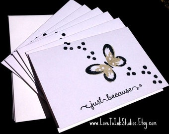 Just Because Note Cards-Black and Beige Butterflies-Personal and Friendship Notes
