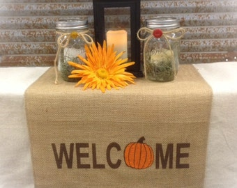 "Burlap Table Runner 12"", 14"", or 15"" wide with Welcome & a pumpkin for the ""O"" on both ends Holiday decorating Home decor"