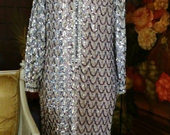 GORGEOUS! Couture Like Vintage Retro 60s Gold/Silver Sequined Tunic Evening Dress by Lee Jordan New York Size 4-6