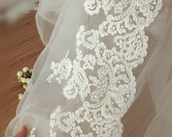Victoria Alencon Lace Trim in Ivory for Bridals, Veils, Gowns