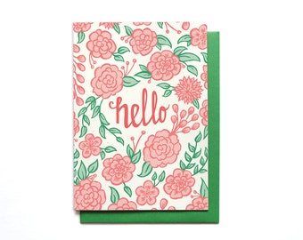 Hello Greeting Card - Hello Flowers - Long Distance Card - Thinking of You Card - Miss You Card