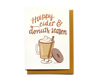Autumn Card - Cider and Donuts - Happy Autumn Card - Happy Fall Card - Cider mill card