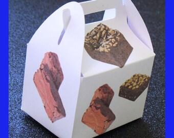 brownie treat box, brownie birthday box, brownie favor box, brownie birthday favor box