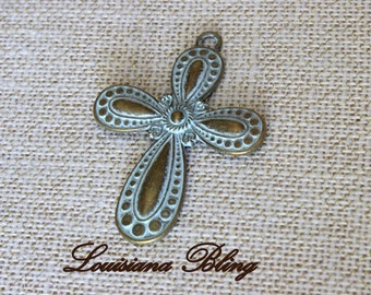 Large Cross Gold with Blue Patina 76x54mm Large bold cross pendant charm 2 pieces, 26-14-P