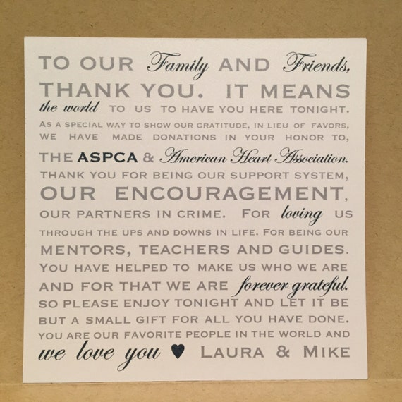 donation favor thank you wedding reception cards placecards