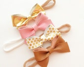 Pick 2: leather tied bow- clip- headband- genuine leathet- sailor bow