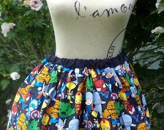 Kawaii Marvel Skirt. Avengers Skirt. Comic Con skirt. Comic characters skirt.