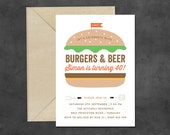 Burgers & Beers Invitation for Mens Birthday Party, suitable for bbq / cookout also, 21st, 30th, 40th, 50th (any age), printable