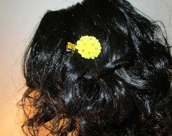 Yellow Dahlia Hair Clip Flower Jewelry Vintage Hair Pin