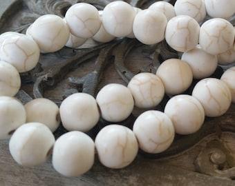 10mm White Howlite Turquoise Round Beads,  full strand. 30 pcs