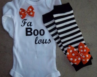 Newborn Baby Girl Halloween Outfit - Faboolous bodysuit, Black and White Striped Leg Warmers