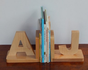 Handmade Natural Wood Letter Bookends