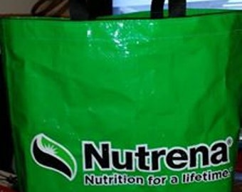 Recycled Feed Bag Tote - Nutrena Just Green - Recycled feed bags feed sack tote recycled bag tote
