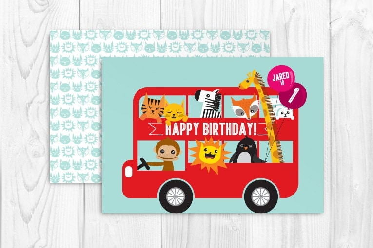 printable double decker bus birthday greeting card template. Black Bedroom Furniture Sets. Home Design Ideas