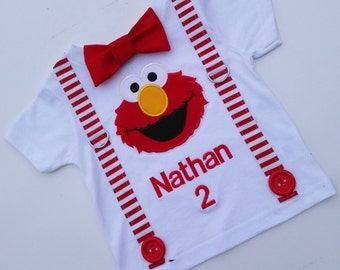 Elmo Inspired White T Shirt With Suspenders And Bow tie And Monogramming  Sizes 3-6 mo to 5/6