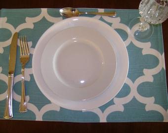 Teal Blue/White Placemats, Geometric Placemats, Party Decor Placemats