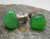 Green Glass Cabinet Knobs  - Set of 2, Glass Knobs, Kitchen cabinet knobs, Beach Decor, Drawer Pull, Fixture