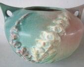 Vintage ROSEVILLE Art Pottery USA Green/Pink FOXGLOVE Bowl 418-4