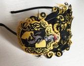 Hufflepuff - Harry Potter Christmas - Fancy Headband - Geek Headband - Geek Girls - Geek Bows - Yellow and Black - Feather Headband - Adult