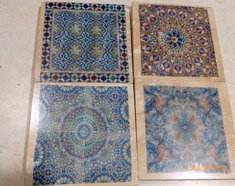 Tile coasters -Travertine Coasters - Moroccan Stone Coasters - Decorative tile coasters - set of 4 - Marble coasters - Decorative coasters