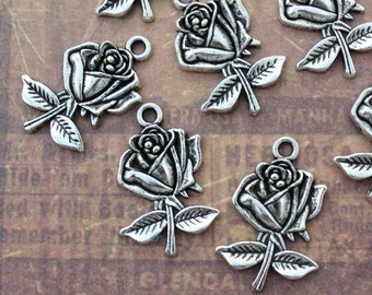 10 Rose Charms Rose Pendants Flower Charms Antiqued Silver Tone 18 x 23 mm