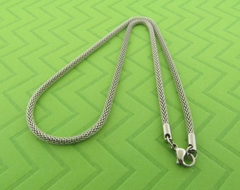 non tarnishing stainless steel mesh chain necklace. 16 inches long