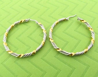 large two tone stainless steel hoop earings. 1 3/4 inch round