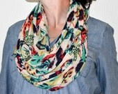 Multicolored Feathers Infinity Scarf