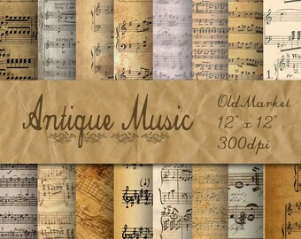 Antique Music Digital Papers - Old Music Backgrounds - Sheet Music - 16 Designs - 12in x 12in - Commercial Use - INSTANT DOWNLOAD