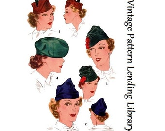 1930s Ladies Close Fitting Hats - Reproduction Sewing Pattern #H8515