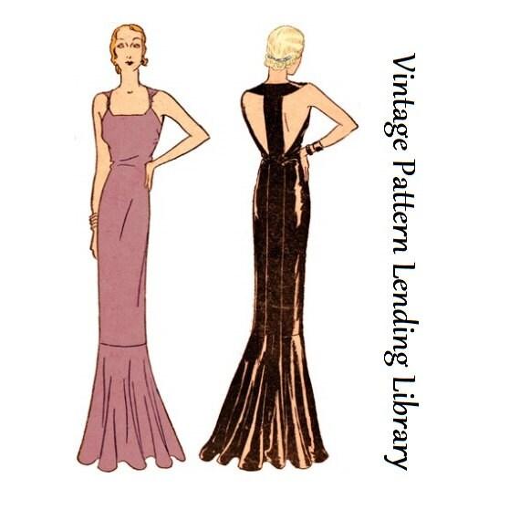 1931-Damen-Abend-Kleid mit hinteren Band Reproduktion